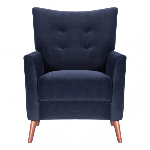 dark navy royal blue armchair sofa-chair front view
