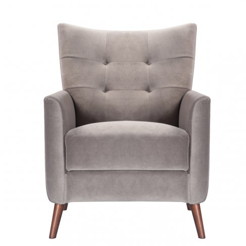grey taupe steel armchair sofa-chair front view
