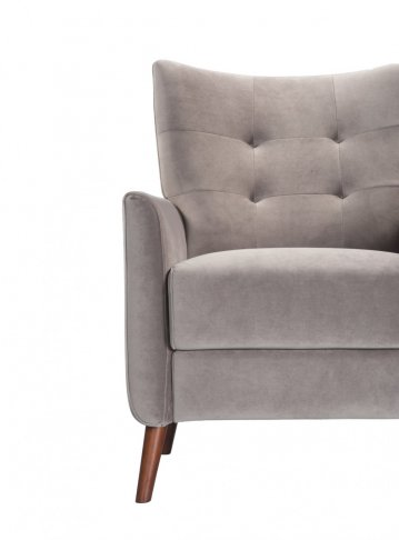 grey taupe steel armchair sofa-chair front view partially obscured left