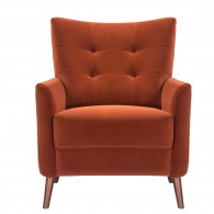 burnt orange velvet red terracotta armchair sofa-chair front view