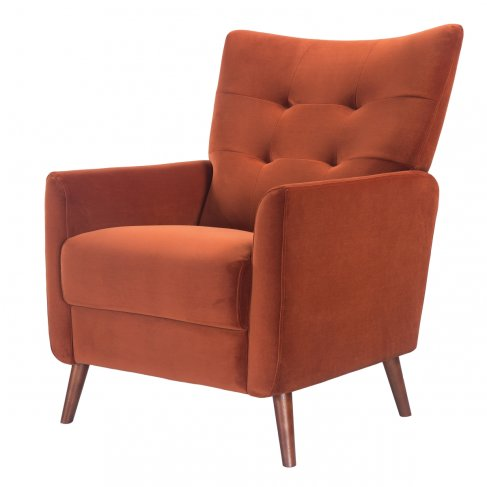 burnt orange velvet red terracotta armchair sofa-chair front-left view