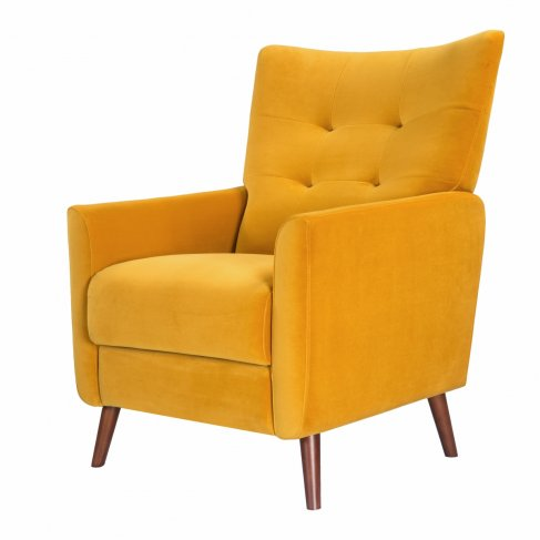 mustard yellow saffron armchair sofa-chair front-left view