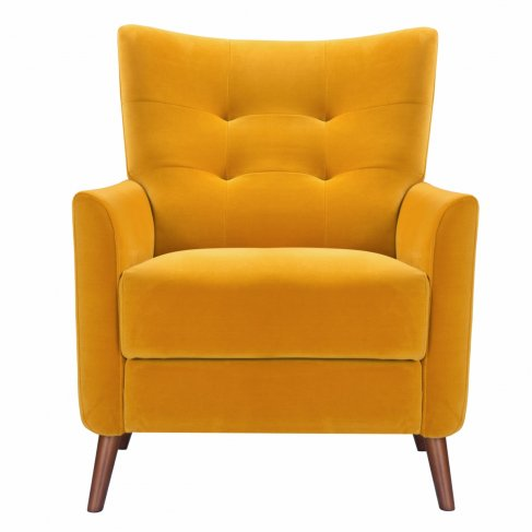 mustard yellow saffron armchair sofa-chair front view