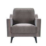 grey taupe velvet steel armchair black legs front view