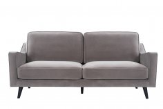 grey taupe velvet steel sofa black legs front view
