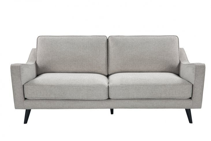 grey greige fabric sofa black legs front view