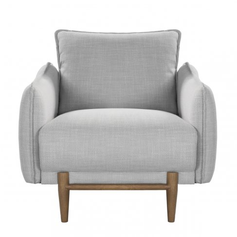 silver gray linen armchair ash gray legs front view