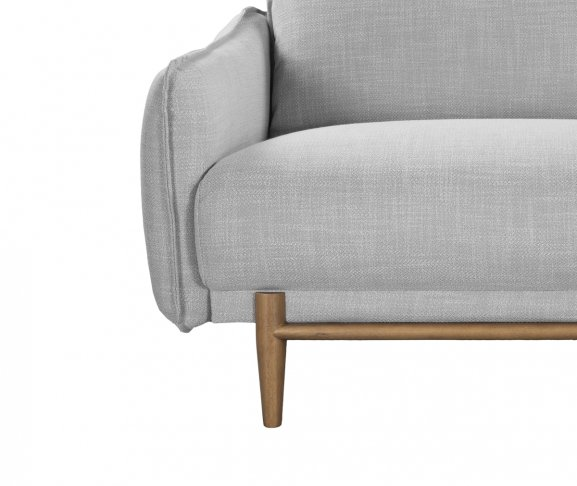 silver gray linen sofa 3 seater ash gray legs front view obscured left