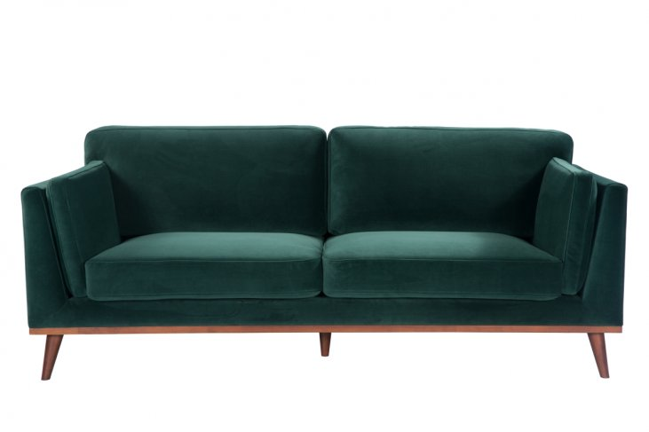 emerald green velvet sofa 3 seater walnut legs front view