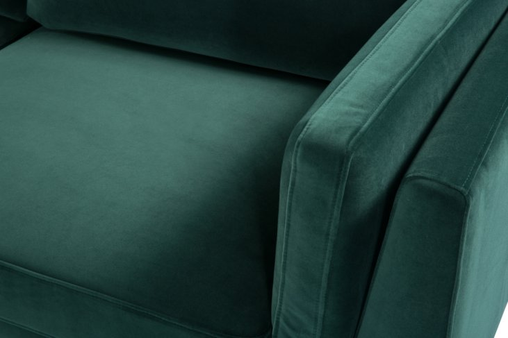 emerald green sofa 3 seater walnut legs front-left-top view zoomed in on left arm