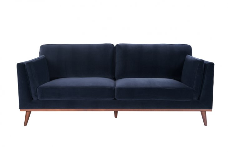 royal blue velvet navy velvet sofa 3 seater walnut legs front view